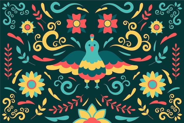 Kleurrijke mexicaanse achtergrond met vogel