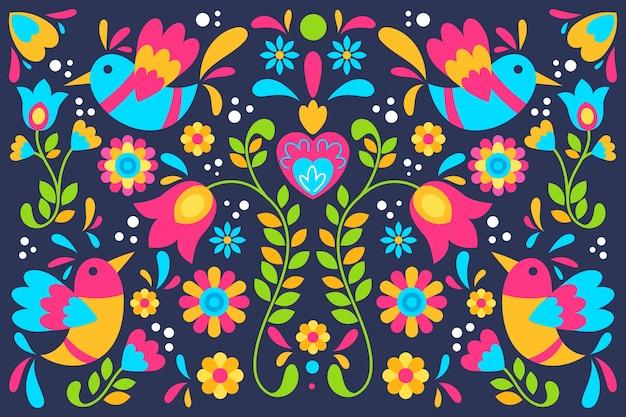 Kleurrijke mexicaanse bloemen en vogelsachtergrond