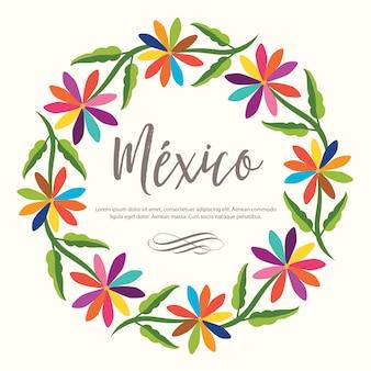 Kleurrijke mexicaanse bloemen krans samenstelling. textielborduurstijl van tenango, hidalgo; méxico - kopieer de ruimte