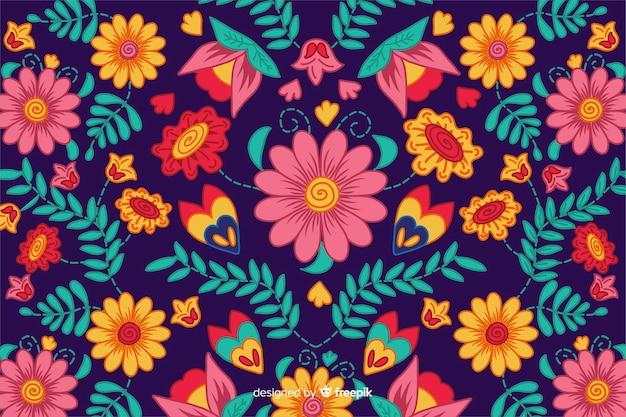 Kleurrijke mexicaanse borduurwerkachtergrond
