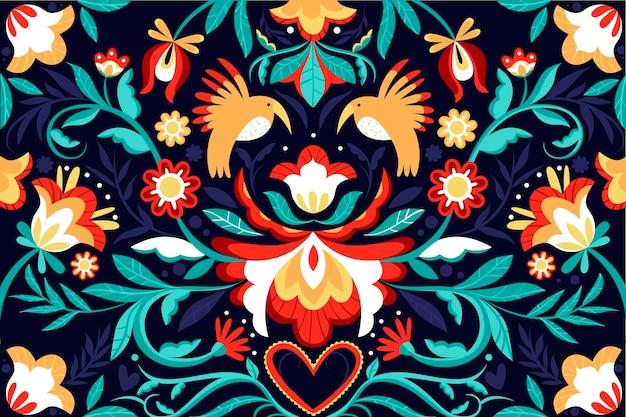 Kleurrijke mexicaanse platte ontwerpachtergrond