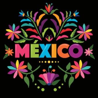 Kleurrijke mexicaanse stempel. textielborduurstijl van tenango, hidalgo; méxico - bloemige compositie