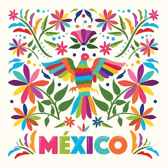 Kleurrijke mexicaanse traditionele textielborduurstijl uit tenango, hidalgo; méxico - kopieer de ruimte bloemensamenstelling met vogel