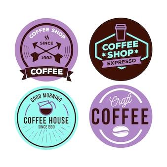 Kleurrijke minimale logo collectie sjabloon in vintage stijl