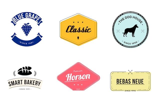 Kleurrijke minimale retro logo set