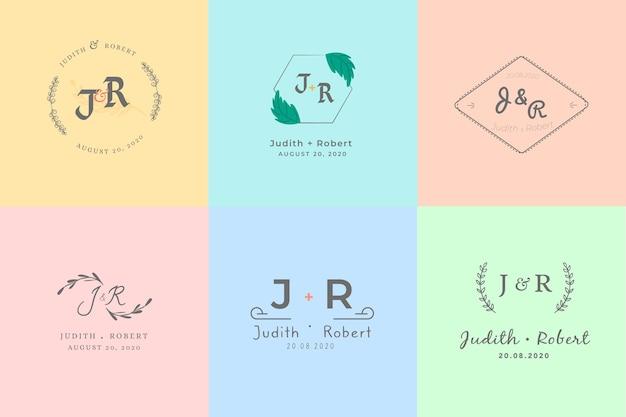 Kleurrijke minimalistische huwelijksmonogrammen in pastelkleuren