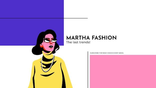 Kleurrijke minimalistische mode youtube kanaalart