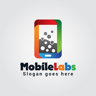 Kleurrijke mobile labs logo