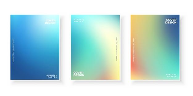 Kleurrijke moderne kleurovergang dekt sjabloon set