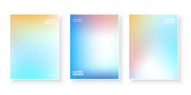 Kleurrijke moderne kleurovergang dekt sjabloonontwerpset