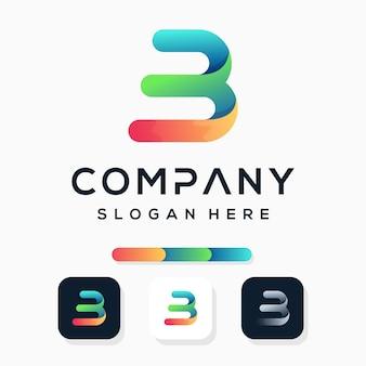 Kleurrijke moderne letter b logo sjabloon