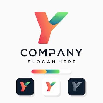 Kleurrijke moderne letter y logo sjabloon