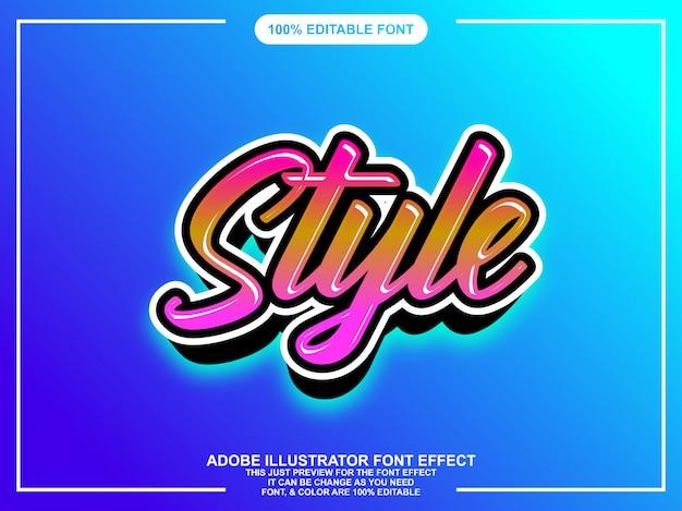 Kleurrijke moderne penseel script grafische stijl bewerkbare lettertype