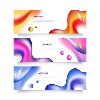 Kleurrijke moderne set van abstracte vloeibare banners sjabloon