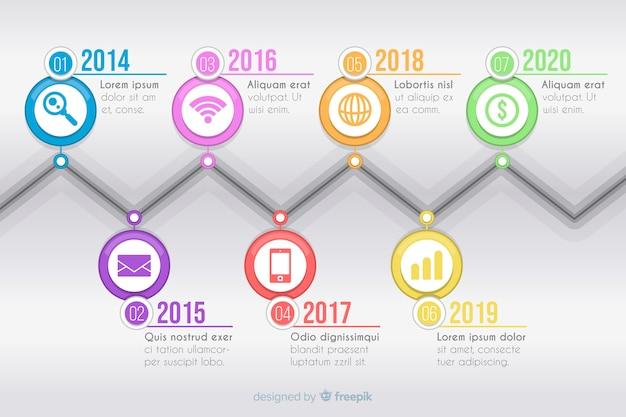 Kleurrijke moderne tijdlijn infographic sjabloon