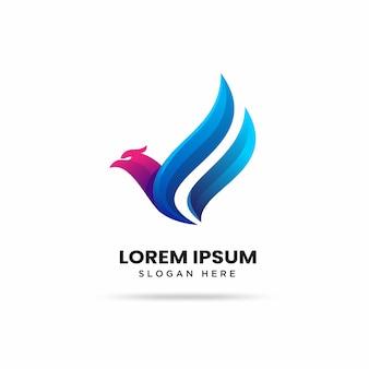 Kleurrijke moderne vogel logo sjabloon