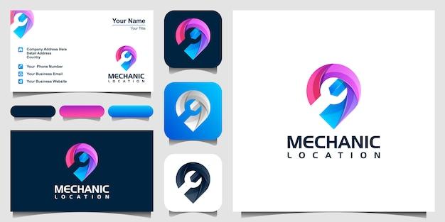 Kleurrijke moersleutel in het kaartspeldpictogram of logo. car service teken, reparatie kaart pin symbool. voorraadillustratie op witte achtergrond wordt geïsoleerd die. en visitekaartje