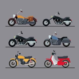 Kleurrijke motorfietsen instellen