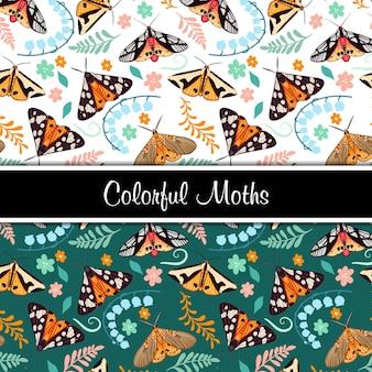 Kleurrijke motten naadloze patroon set illustratie