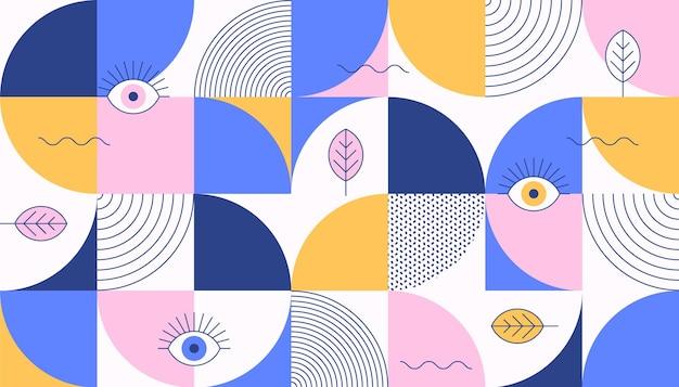 Kleurrijke mozaïekachtergrond met ogen en bladeren in de stijl van memphis