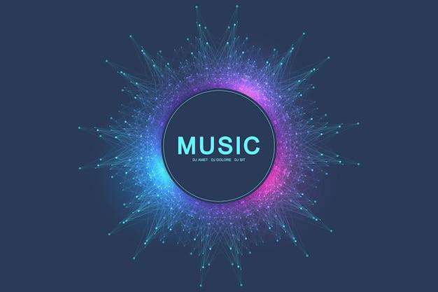 Kleurrijke muziek en dans nacht partij spandoek of poster.