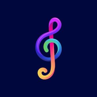 Kleurrijke muziek opmerking symbool logo ontwerp vector