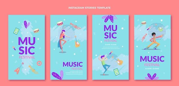 Kleurrijke muziekfestival instagramverhalen