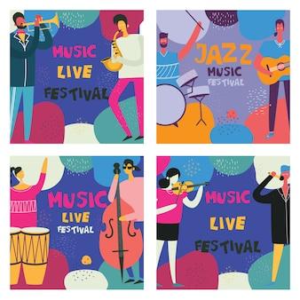 Kleurrijke muziekfestivalaffiches in plat ontwerp met muzikanten die muziekinstrumenten spelen