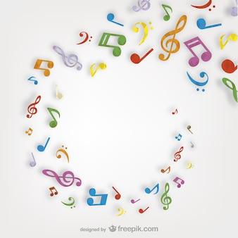 Kleurrijke muzieknoten dwarrelen