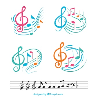Kleurrijke muzieknoten met abstracte notenbalken