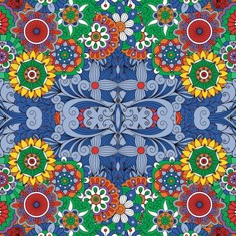 Kleurrijke naadloze achtergrond met bloemenontwerpen