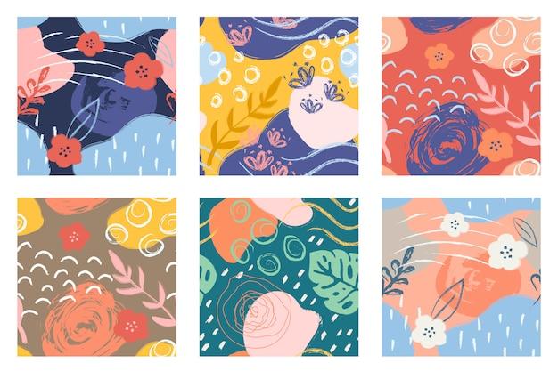 Kleurrijke naadloze patronen met penseelstreken.