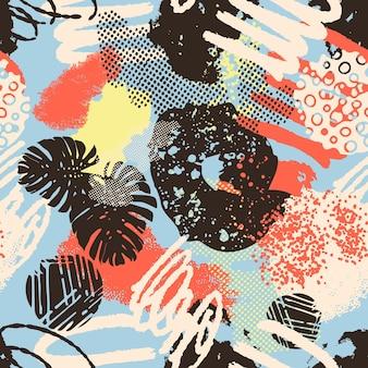 Kleurrijke naadloze patroon achtergrond header collage met verschillende vormen en texturen