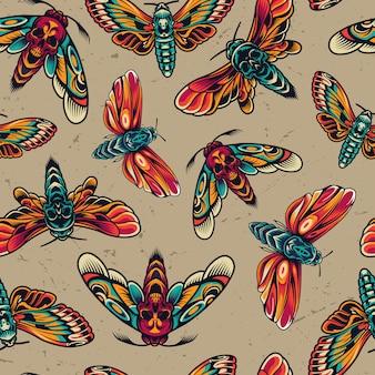 Kleurrijke naadloze patroon van tatoeages