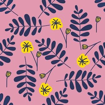 Kleurrijke naadloze patroonbladeren in moderne stijl op roze achtergrond.