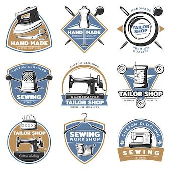 Kleurrijke naaien badge set