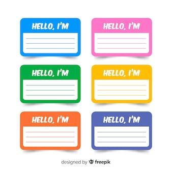 Kleurrijke naam tag sjabloonverzameling