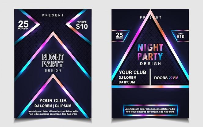 Kleurrijke nacht dans partij muziek flyer of posterontwerp
