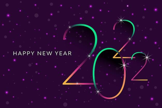 Kleurrijke nachtelijke hemel knipperende violette sterren met vallende sneeuw onthult een gelukkig nieuwjaar 2022 abstract