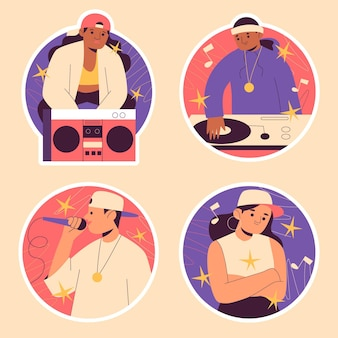 Kleurrijke naïeve hiphopstickers