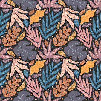 Kleurrijke natuur bladeren en gebladerte naadloze patroon