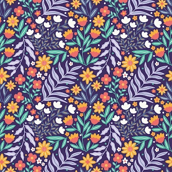 Kleurrijke natuur bloem en gebladerte naadloze patroon