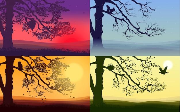 Kleurrijke natuur landschappen set
