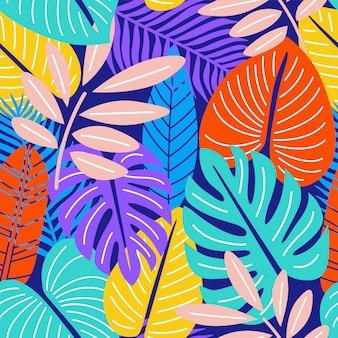 Kleurrijke natuurbladeren neon naadloos patroon