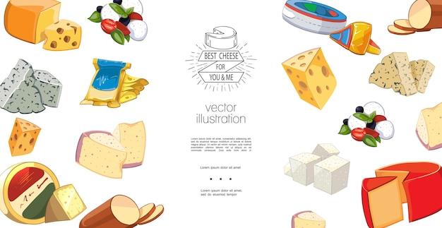 Kleurrijke natuurlijke biologische kaas sjabloon