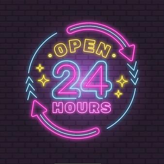 Kleurrijke neon 24 uur per dag geopend teken