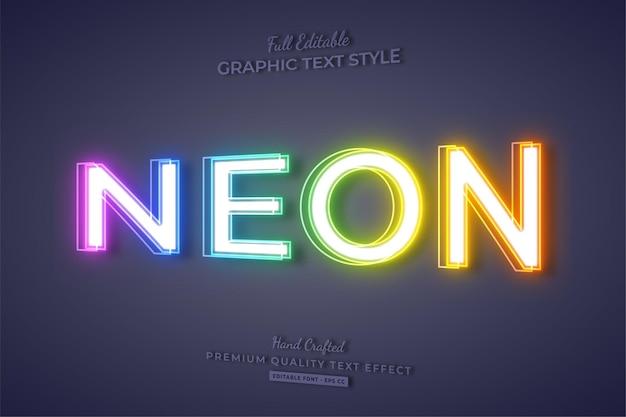 Kleurrijke neon 3d bewerkbare teksteffect lettertypestijl
