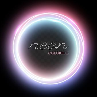Kleurrijke neon cirkel instellen