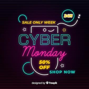 Kleurrijke neon cyber maandag