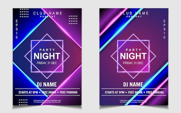 Kleurrijke neonlicht nacht dansfeest muziek flyer of posterontwerp